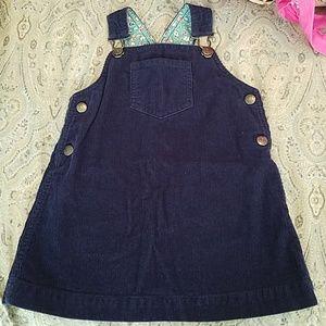 Mini Boden Navy courdoroy overall dress jumper